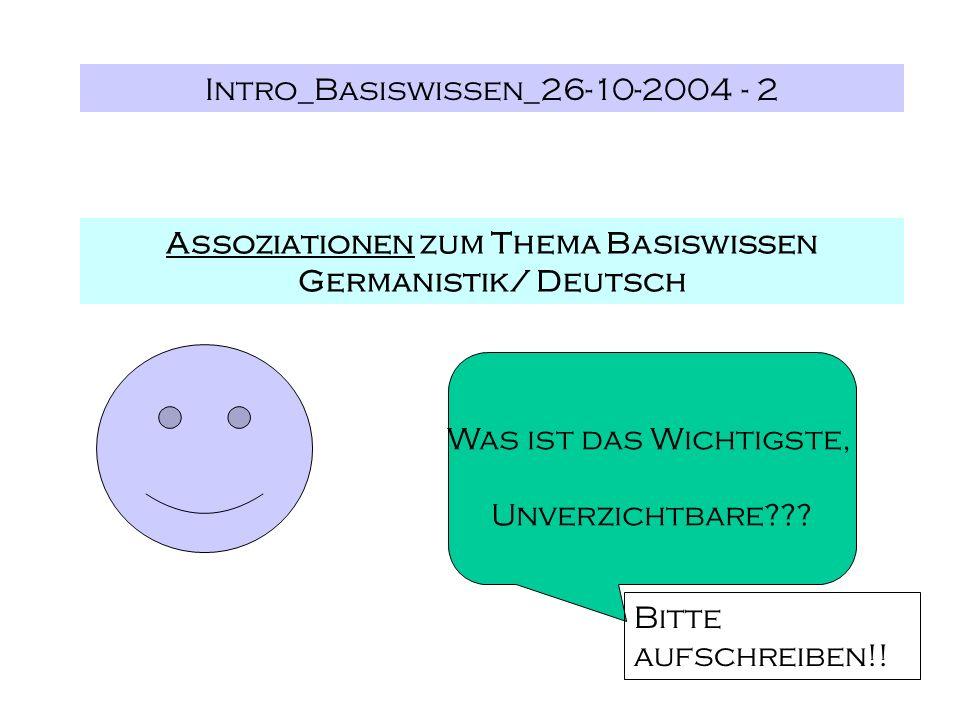 Intro_Basiswissen_26-10-2004 - 2 Assoziationen zum Thema Basiswissen Germanistik/ Deutsch Was ist das Wichtigste, Unverzichtbare??? Bitte aufschreiben