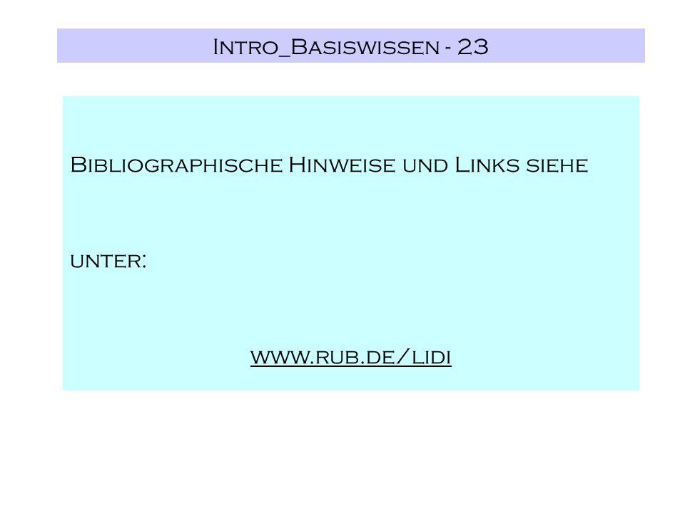 Intro_Basiswissen - 23 Bibliographische Hinweise und Links siehe unter: www.rub.de/lidi