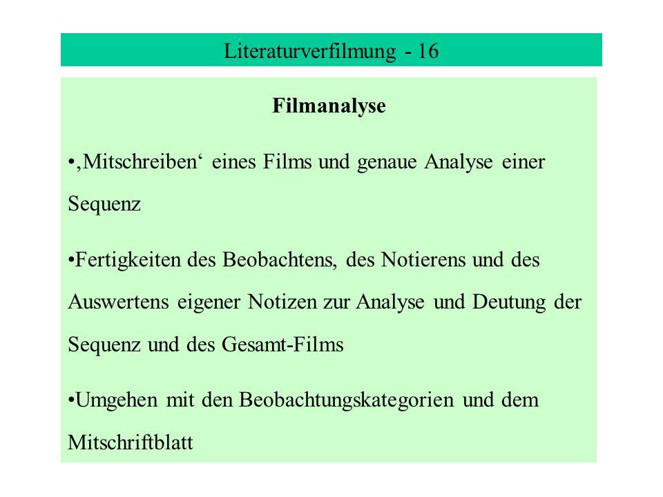 Literaturverfilmung - 16 Filmanalyse Mitschreiben eines Films und genaue Analyse einer Sequenz Fertigkeiten des Beobachtens, des Notierens und des Auswertens eigener Notizen zur Analyse und Deutung der Sequenz und des Gesamt-Films Umgehen mit den Beobachtungskategorien und dem Mitschriftblatt