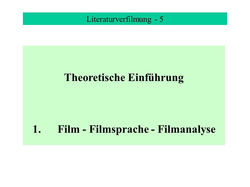 Literaturverfilmung - 5 Theoretische Einführung 1.Film - Filmsprache - Filmanalyse