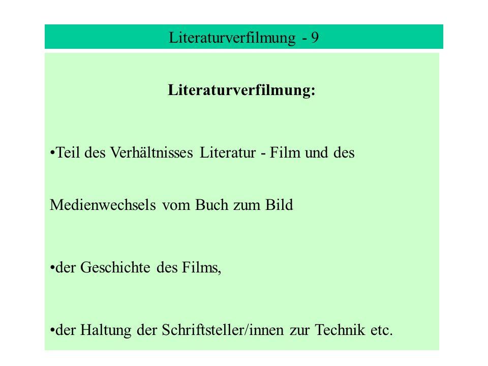 Literaturverfilmung - 9 Literaturverfilmung: Teil des Verhältnisses Literatur - Film und des Medienwechsels vom Buch zum Bild der Geschichte des Films, der Haltung der Schriftsteller/innen zur Technik etc.