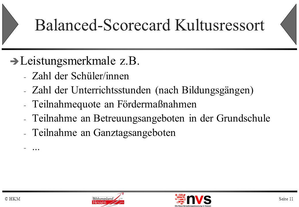 Seite 11© HKM Balanced-Scorecard Kultusressort Leistungsmerkmale z.B. - Zahl der Schüler/innen - Zahl der Unterrichtsstunden (nach Bildungsgängen) - T