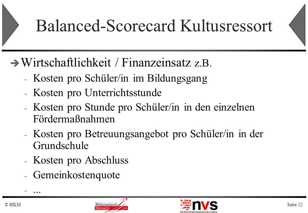 Seite 12© HKM Balanced-Scorecard Kultusressort Wirtschaftlichkeit / Finanzeinsatz z.B. - Kosten pro Schüler/in im Bildungsgang - Kosten pro Unterricht