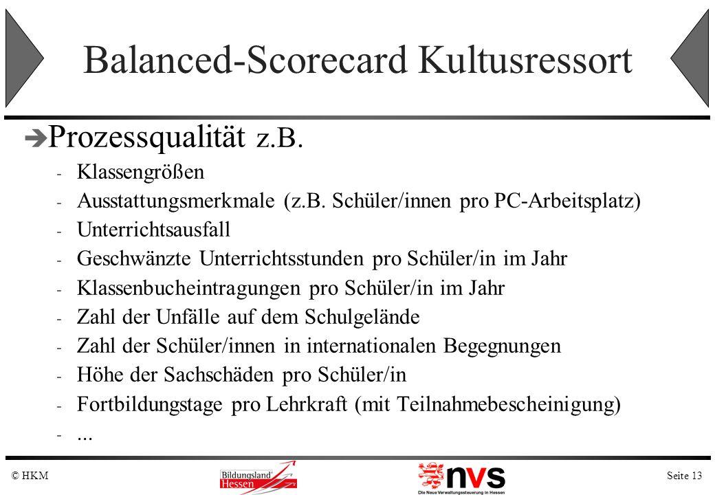 Seite 13© HKM Balanced-Scorecard Kultusressort Prozessqualität z.B. - Klassengrößen - Ausstattungsmerkmale (z.B. Schüler/innen pro PC-Arbeitsplatz) -