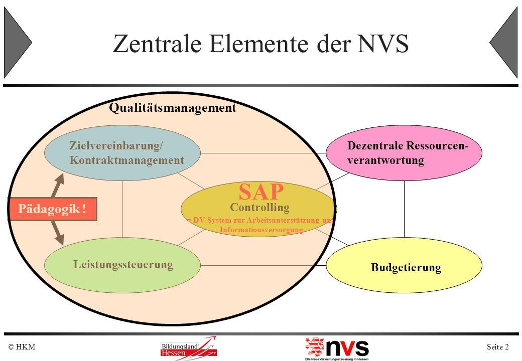 Seite 2© HKM Pädagogik ! Zentrale Elemente der NVS Zielvereinbarung/ Kontraktmanagement Dezentrale Ressourcen- verantwortung Controlling Budgetierung