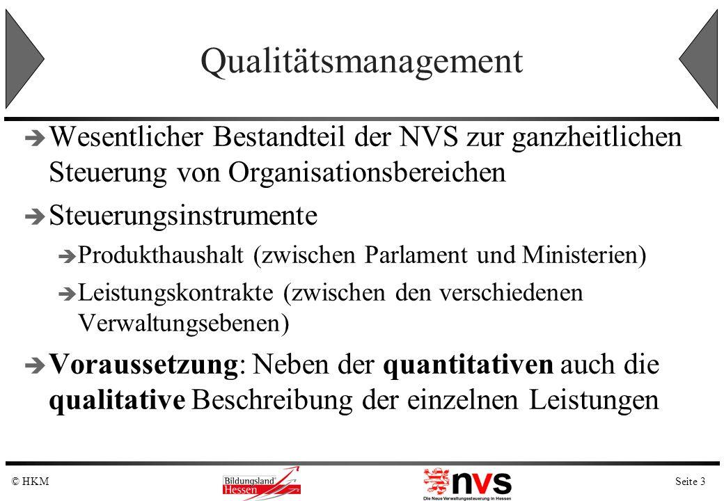 Seite 3© HKM Qualitätsmanagement Wesentlicher Bestandteil der NVS zur ganzheitlichen Steuerung von Organisationsbereichen Steuerungsinstrumente Produk