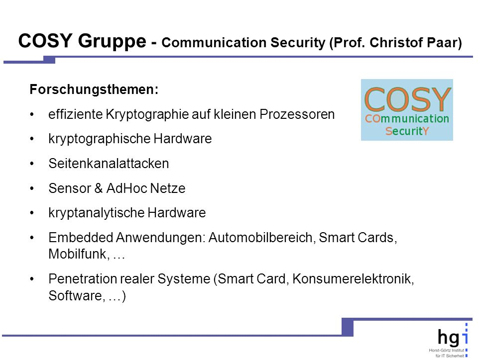 COSY Gruppe - Communication Security (Prof.