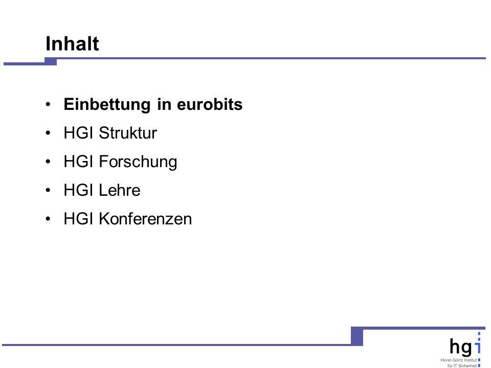 Inhalt Einbettung in eurobits HGI Struktur HGI Forschung HGI Lehre HGI Konferenzen