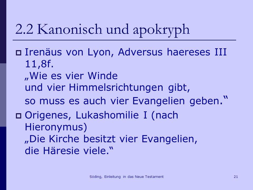Söding, Einleitung in das Neue Testament22 2.2 Kanonisch und apokryph Thomasevangelium, Logion 1 Dies sind die geheimen Worte, die Jesus, der Lebendige sagte, und die Didymus Judas Thomas aufgeschrieben hat.