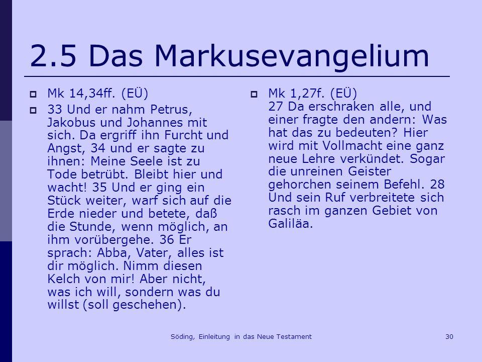 Söding, Einleitung in das Neue Testament31 2.5 Das Markusevangelium Mk 1,11 Du bist mein geliebter Sohn, an dir habe ich Gefallen gefunden.