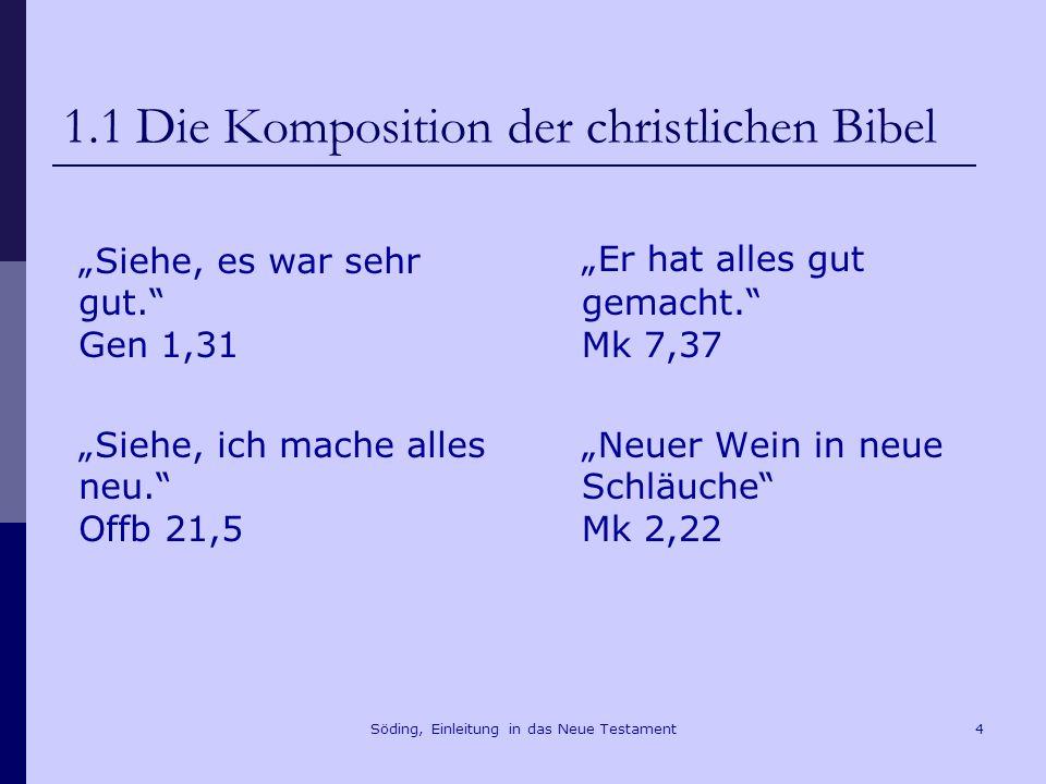 Söding, Einleitung in das Neue Testament5 1.2 Das AT als Vorgabe des NT Mt 5,17 Glaubt nicht, dass ich gekommen bin, Gesetz und Propheten aufzulösen; ich bin nicht gekommen, aufzulösen, sondern z erfüllen.