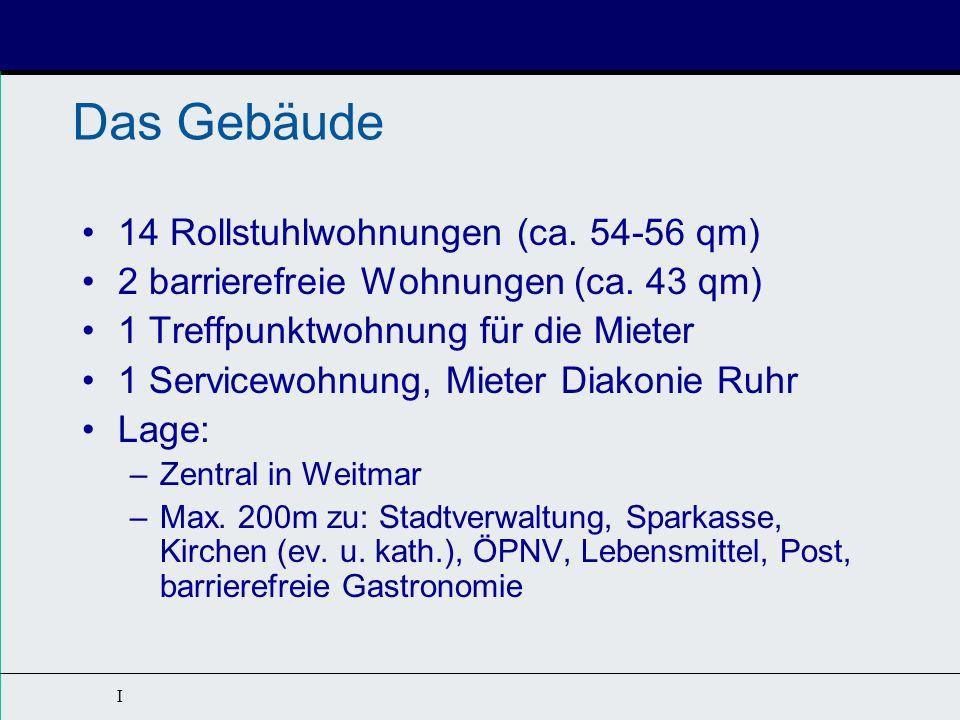I WLV GmbH als Projektentwickler und Investor Kurzbeschreibung: 14 Apartments für Rollstuhlfahrer (DIN 18040-2R) 2 barrierefreie Apartments (DIN 18040-2) Gemeinschaftsbereich nach WFB Servicebereich (frei vermietet) Rd.