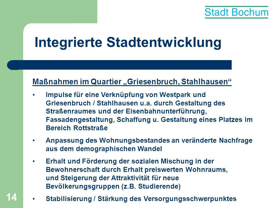 14 Integrierte Stadtentwicklung Maßnahmen im Quartier Griesenbruch, Stahlhausen Impulse für eine Verknüpfung von Westpark und Griesenbruch / Stahlhaus
