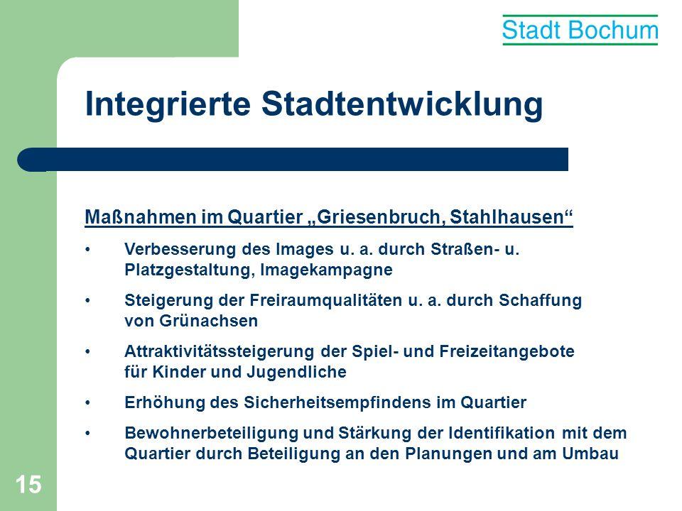 15 Integrierte Stadtentwicklung Maßnahmen im Quartier Griesenbruch, Stahlhausen Verbesserung des Images u. a. durch Straßen- u. Platzgestaltung, Image
