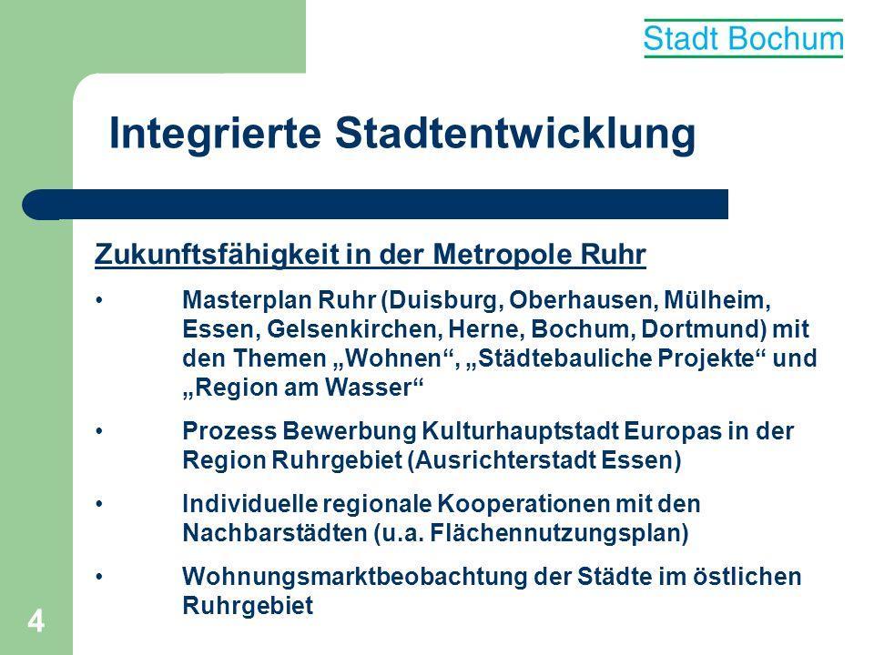 4 Integrierte Stadtentwicklung Zukunftsfähigkeit in der Metropole Ruhr Masterplan Ruhr (Duisburg, Oberhausen, Mülheim, Essen, Gelsenkirchen, Herne, Bo
