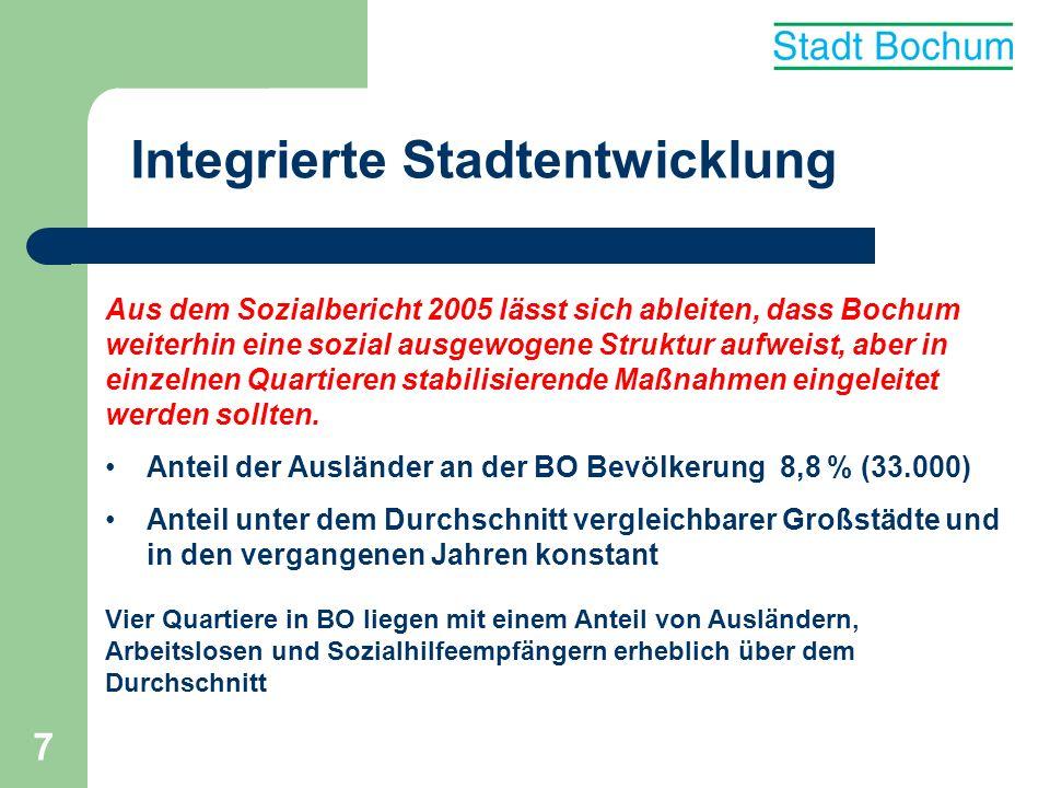7 Integrierte Stadtentwicklung Aus dem Sozialbericht 2005 lässt sich ableiten, dass Bochum weiterhin eine sozial ausgewogene Struktur aufweist, aber i