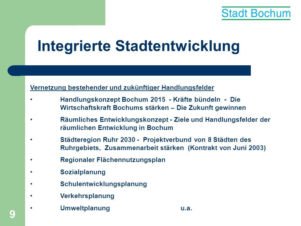 9 Integrierte Stadtentwicklung Vernetzung bestehender und zukünftiger Handlungsfelder Handlungskonzept Bochum 2015 - Kräfte bündeln - Die Wirtschaftsk