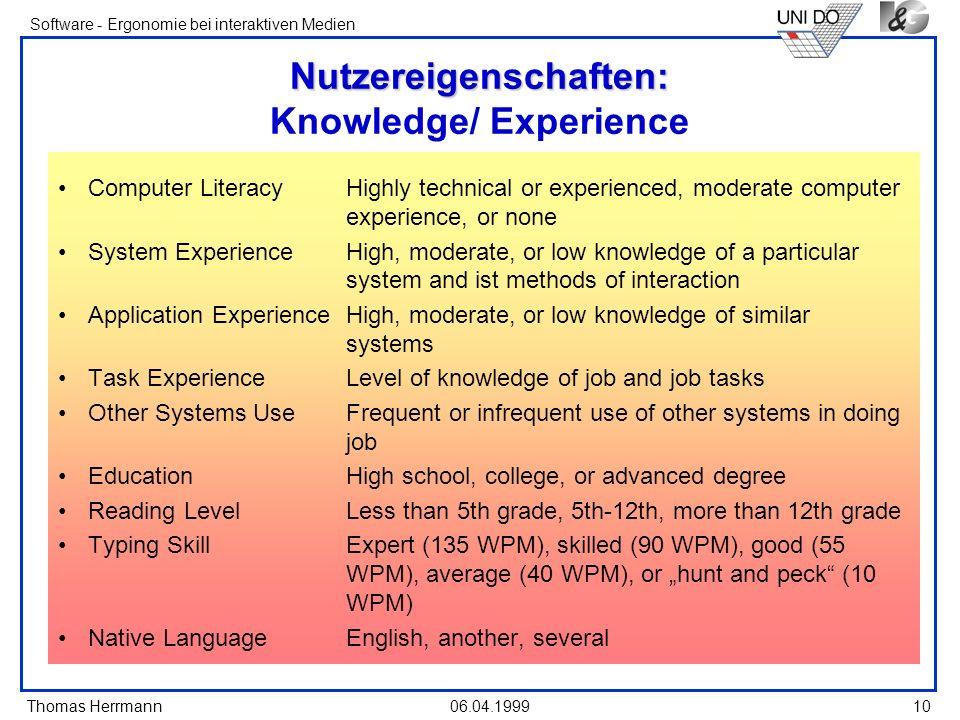 Thomas Herrmann Software - Ergonomie bei interaktiven Medien 06.04.1999 10 Nutzereigenschaften: Nutzereigenschaften: Knowledge/ Experience Computer Li