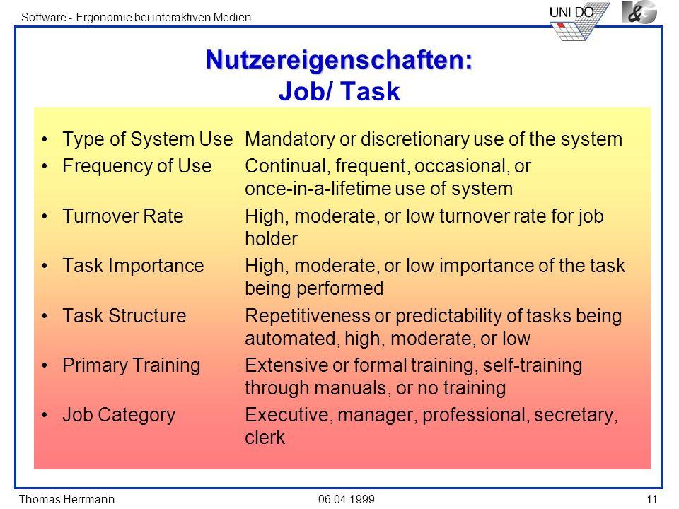 Thomas Herrmann Software - Ergonomie bei interaktiven Medien 06.04.1999 11 Nutzereigenschaften: Nutzereigenschaften: Job/ Task Type of System UseManda