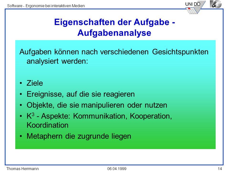 Thomas Herrmann Software - Ergonomie bei interaktiven Medien 06.04.1999 14 Eigenschaften der Aufgabe - Aufgabenanalyse Aufgaben können nach verschiede