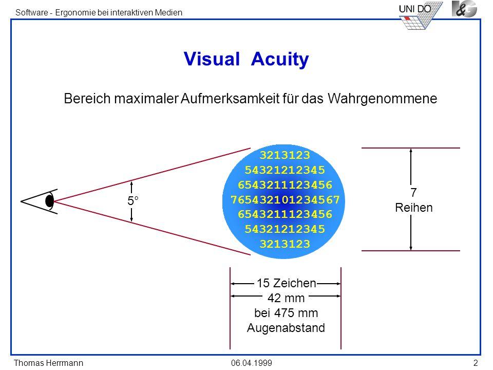 Thomas Herrmann Software - Ergonomie bei interaktiven Medien 06.04.1999 2 Visual Acuity Bereich maximaler Aufmerksamkeit für das Wahrgenommene 3213123