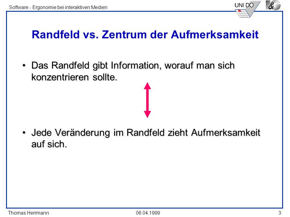 Thomas Herrmann Software - Ergonomie bei interaktiven Medien 06.04.1999 3 Randfeld vs. Zentrum der Aufmerksamkeit Das Randfeld gibt Information, worau