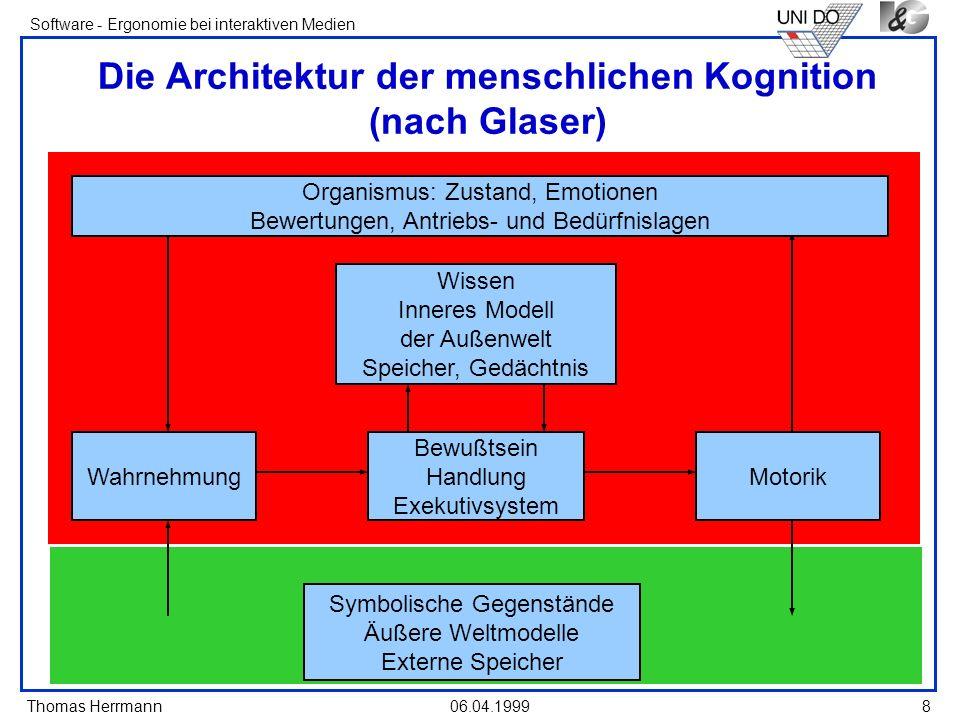 Thomas Herrmann Software - Ergonomie bei interaktiven Medien 06.04.1999 8 Die Architektur der menschlichen Kognition (nach Glaser) Symbolische Gegenst