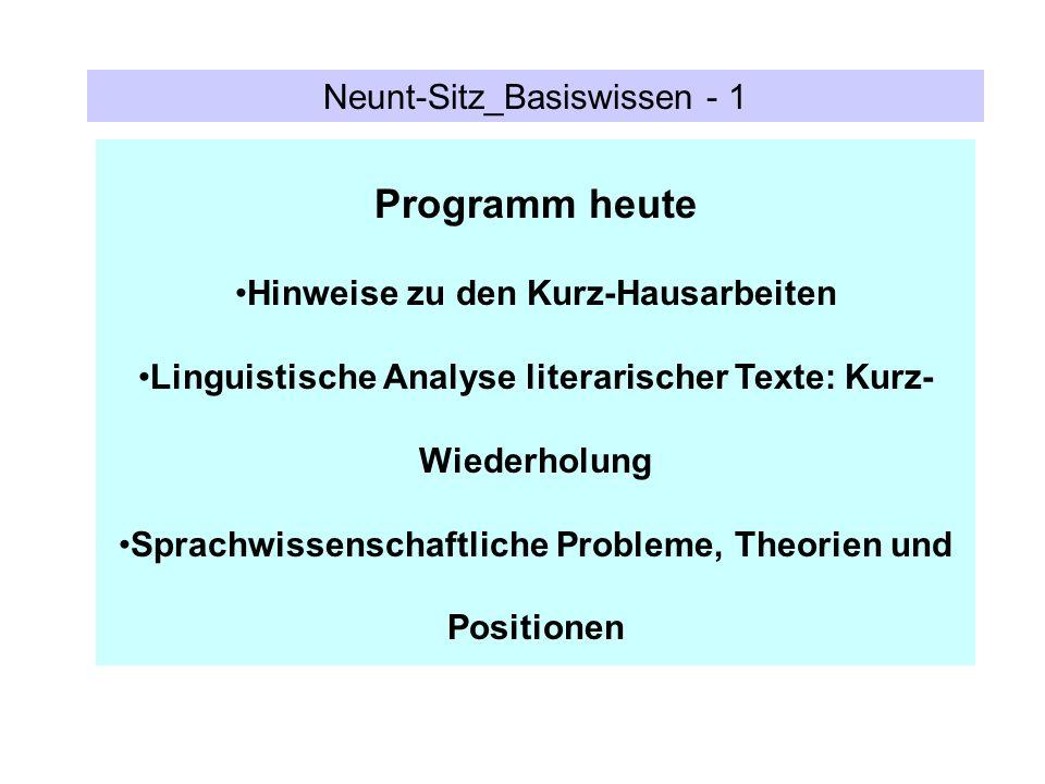 Neunt-Sitz_Basiswissen - 1 Programm heute Hinweise zu den Kurz-Hausarbeiten Linguistische Analyse literarischer Texte: Kurz- Wiederholung Sprachwissen