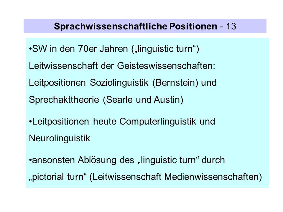 SW in den 70er Jahren (linguistic turn) Leitwissenschaft der Geisteswissenschaften: Leitpositionen Soziolinguistik (Bernstein) und Sprechakttheorie (S