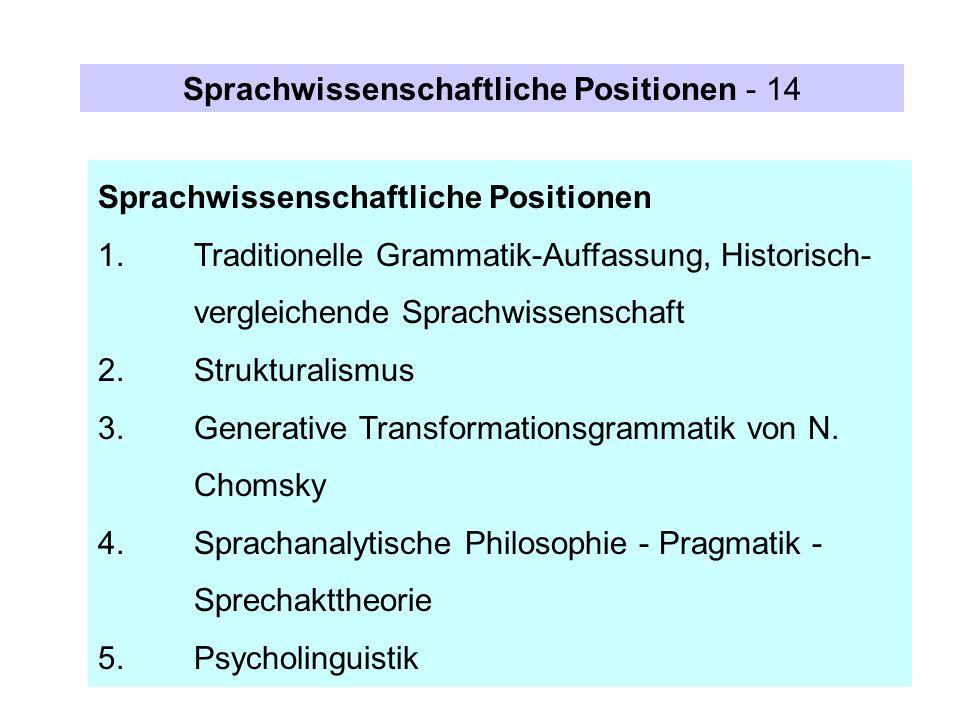 Sprachwissenschaftliche Positionen 1.Traditionelle Grammatik-Auffassung, Historisch- vergleichende Sprachwissenschaft 2.Strukturalismus 3.Generative T