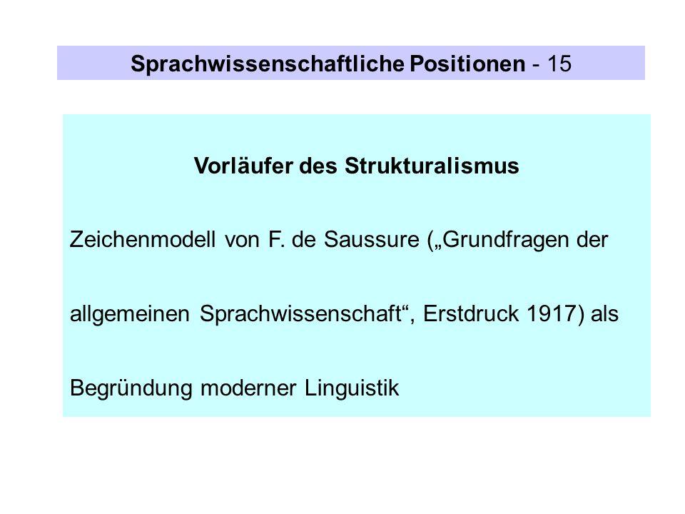 Vorläufer des Strukturalismus Zeichenmodell von F. de Saussure (Grundfragen der allgemeinen Sprachwissenschaft, Erstdruck 1917) als Begründung moderne