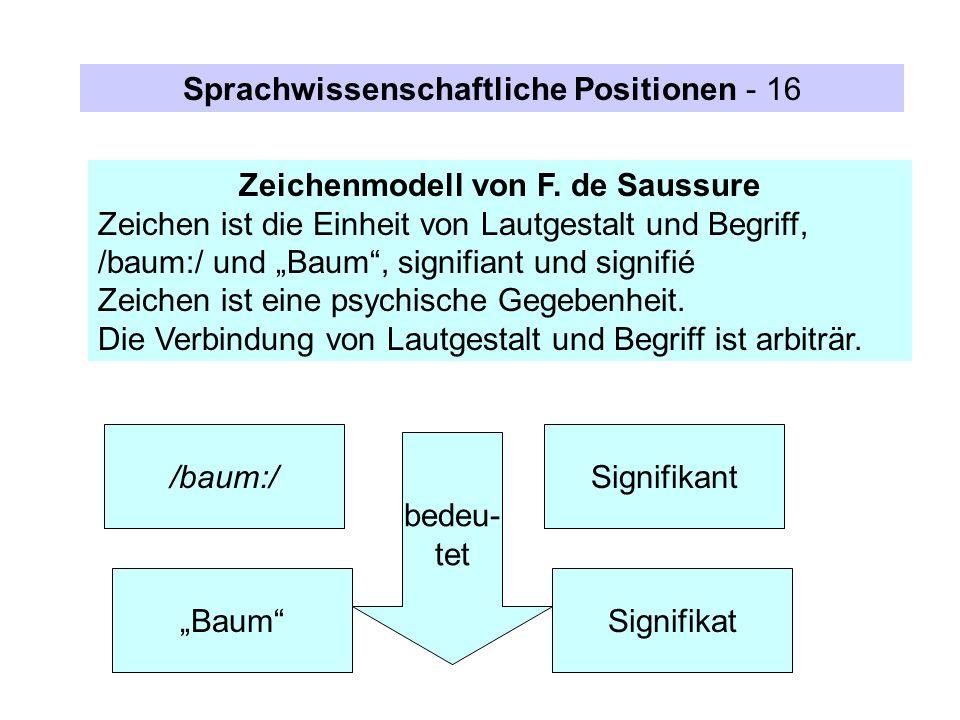 Zeichenmodell von F. de Saussure Zeichen ist die Einheit von Lautgestalt und Begriff, /baum:/ und Baum, signifiant und signifié Zeichen ist eine psych