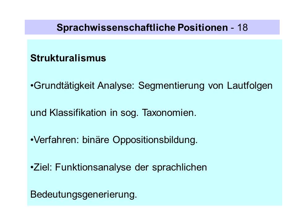 Strukturalismus Grundtätigkeit Analyse: Segmentierung von Lautfolgen und Klassifikation in sog. Taxonomien. Verfahren: binäre Oppositionsbildung. Ziel