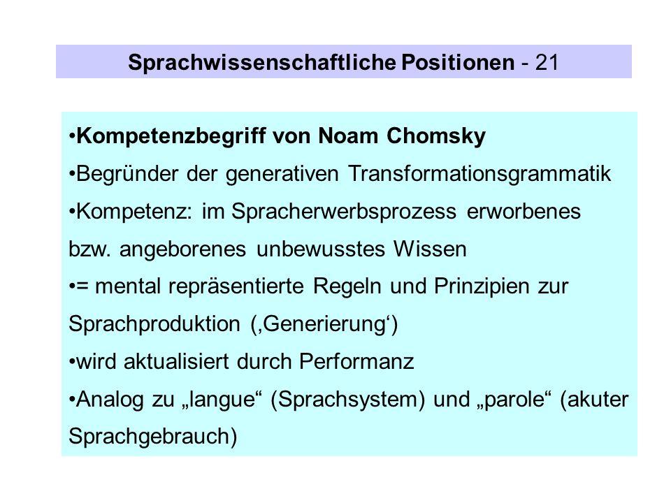 Kompetenzbegriff von Noam Chomsky Begründer der generativen Transformationsgrammatik Kompetenz: im Spracherwerbsprozess erworbenes bzw. angeborenes un