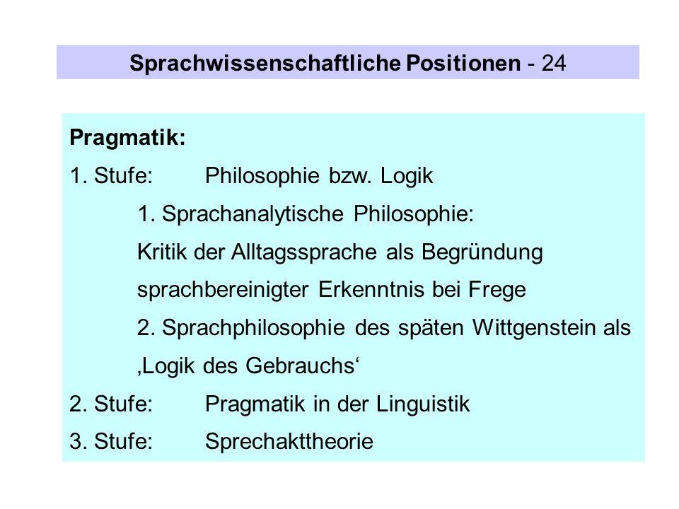 Pragmatik: 1. Stufe:Philosophie bzw. Logik 1. Sprachanalytische Philosophie: Kritik der Alltagssprache als Begründung sprachbereinigter Erkenntnis bei