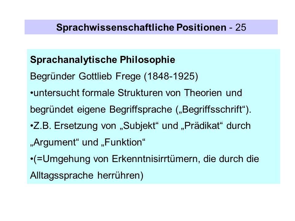 Sprachanalytische Philosophie Begründer Gottlieb Frege (1848-1925) untersucht formale Strukturen von Theorien und begründet eigene Begriffsprache (Beg