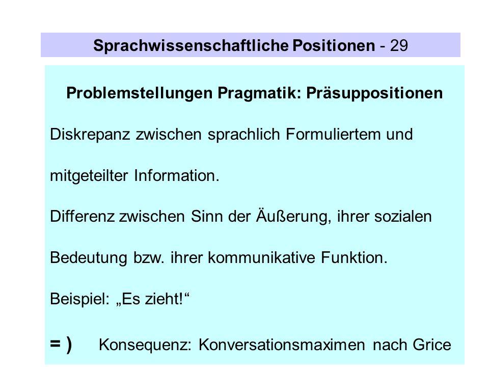 Problemstellungen Pragmatik: Präsuppositionen Diskrepanz zwischen sprachlich Formuliertem und mitgeteilter Information. Differenz zwischen Sinn der Äu