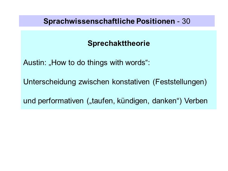 Sprechakttheorie Austin: How to do things with words: Unterscheidung zwischen konstativen (Feststellungen) und performativen (taufen, kündigen, danken