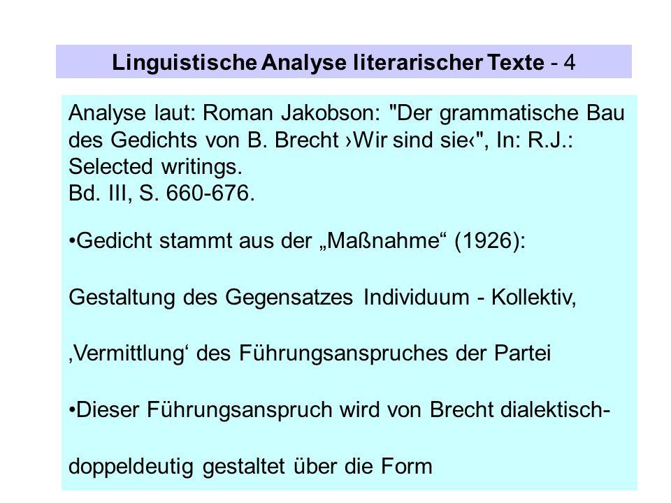 Analyse laut: Roman Jakobson: