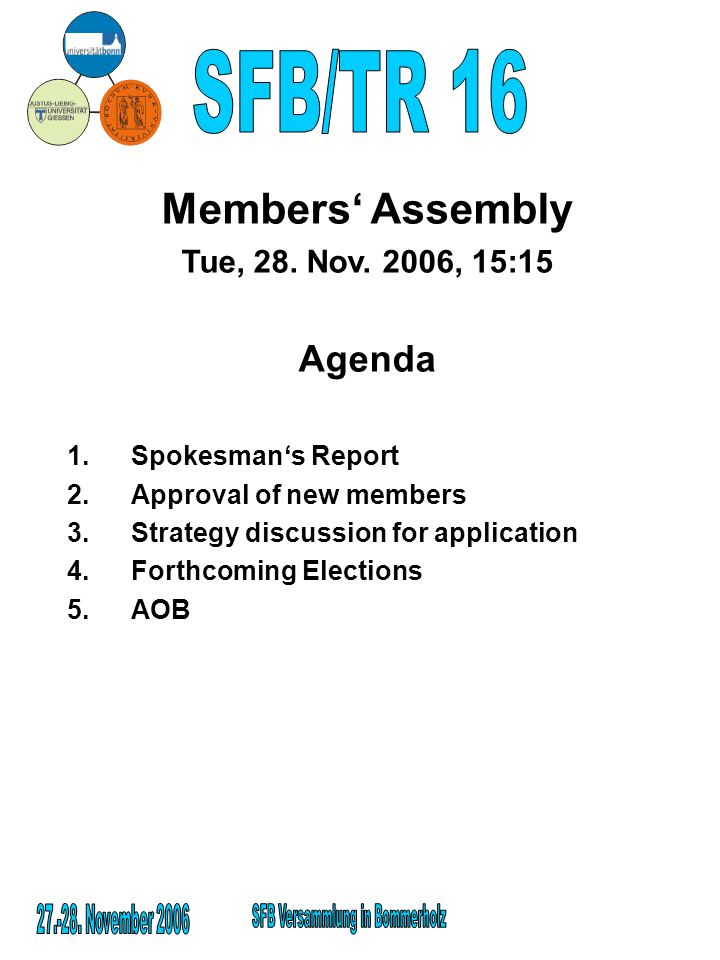 Members Assembly Tue, 28.Nov.