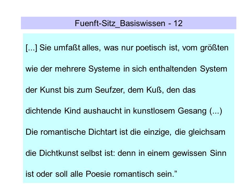 Fuenft-Sitz_Basiswissen - 12 [...] Sie umfaßt alles, was nur poetisch ist, vom größten wie der mehrere Systeme in sich enthaltenden System der Kunst b