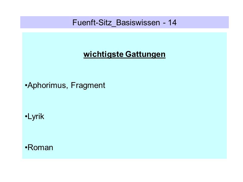 Fuenft-Sitz_Basiswissen - 14 wichtigste Gattungen Aphorimus, Fragment Lyrik Roman