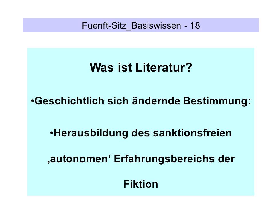 Fuenft-Sitz_Basiswissen - 18 Was ist Literatur? Geschichtlich sich ändernde Bestimmung: Herausbildung des sanktionsfreien autonomen Erfahrungsbereichs