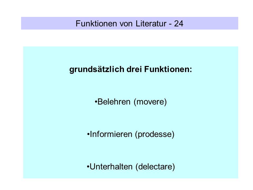 Funktionen von Literatur - 24 grundsätzlich drei Funktionen: Belehren (movere) Informieren (prodesse) Unterhalten (delectare)