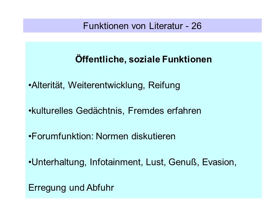 Funktionen von Literatur - 26 Öffentliche, soziale Funktionen Alterität, Weiterentwicklung, Reifung kulturelles Gedächtnis, Fremdes erfahren Forumfunk