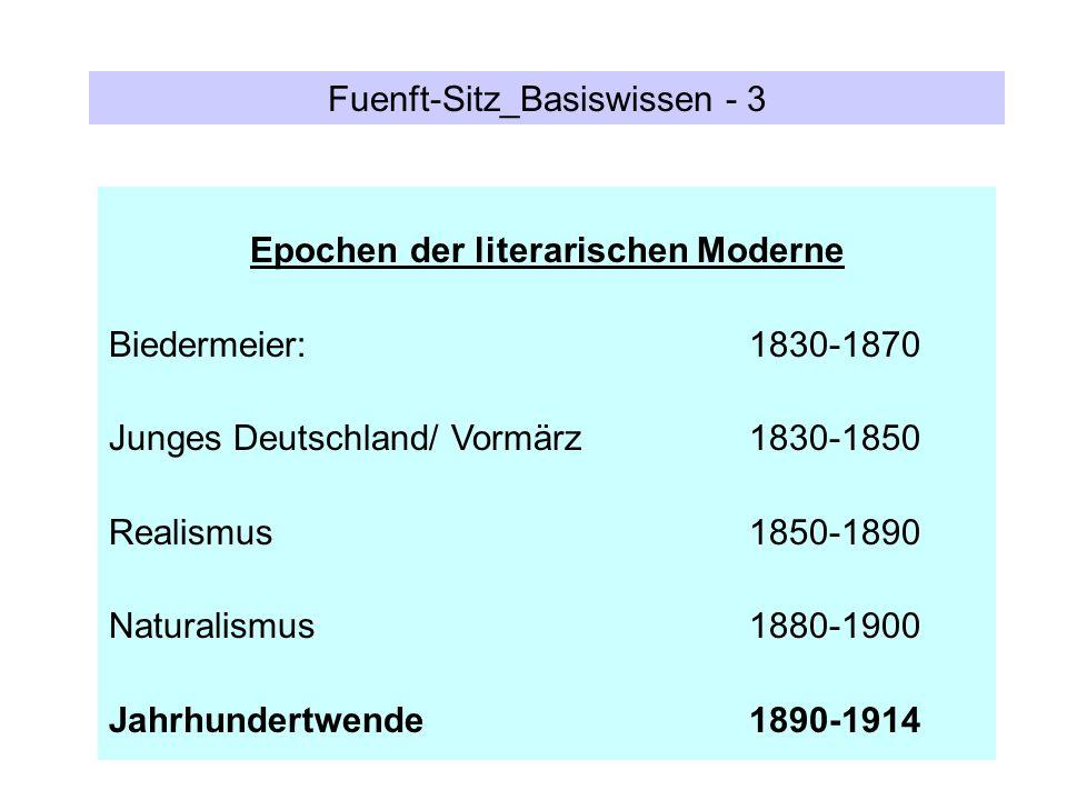 Fuenft-Sitz_Basiswissen - 3 Epochen der literarischen Moderne Biedermeier: 1830-1870 Junges Deutschland/ Vormärz 1830-1850 Realismus 1850-1890 Natural