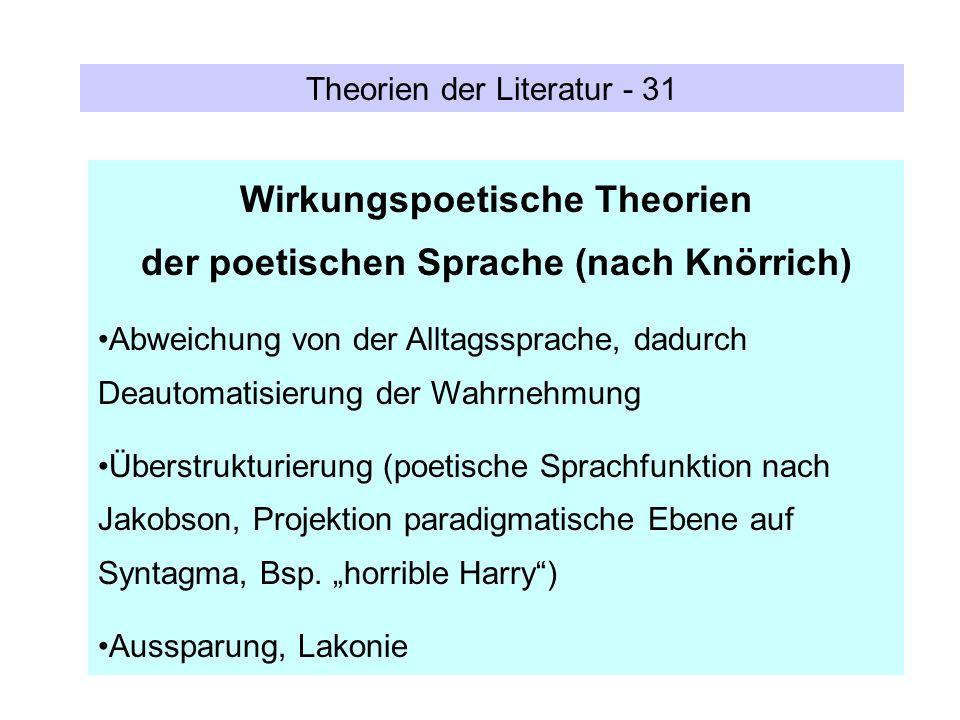 Theorien der Literatur - 31 Wirkungspoetische Theorien der poetischen Sprache (nach Knörrich) Abweichung von der Alltagssprache, dadurch Deautomatisie