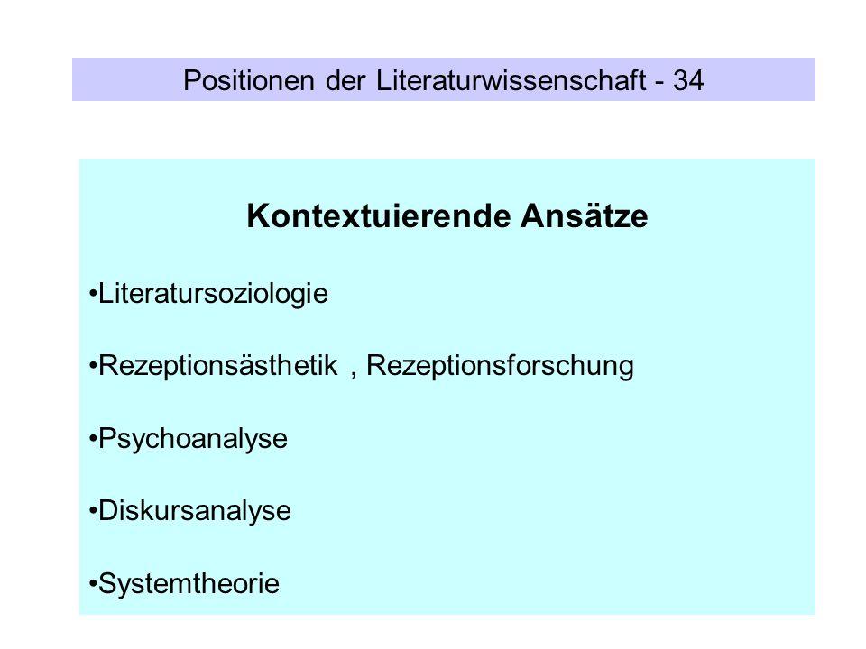 Positionen der Literaturwissenschaft - 34 Kontextuierende Ansätze Literatursoziologie Rezeptionsästhetik, Rezeptionsforschung Psychoanalyse Diskursana