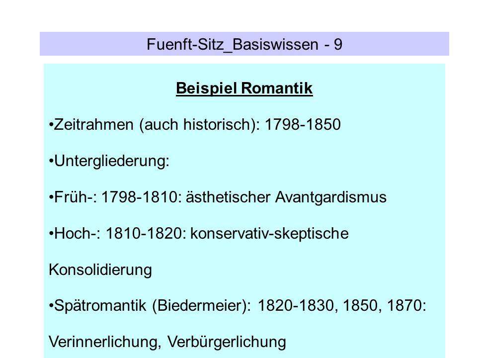 Fuenft-Sitz_Basiswissen - 9 Beispiel Romantik Zeitrahmen (auch historisch): 1798-1850 Untergliederung: Früh-: 1798-1810: ästhetischer Avantgardismus H