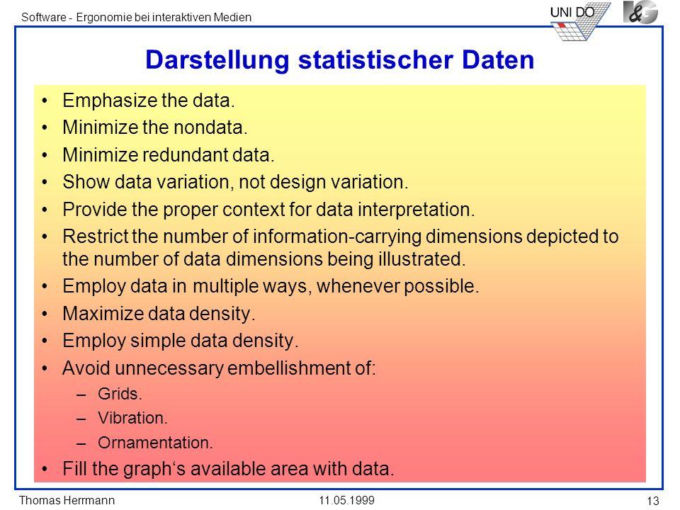Thomas Herrmann Software - Ergonomie bei interaktiven Medien 11.05.1999 13 Darstellung statistischer Daten Emphasize the data. Minimize the nondata. M